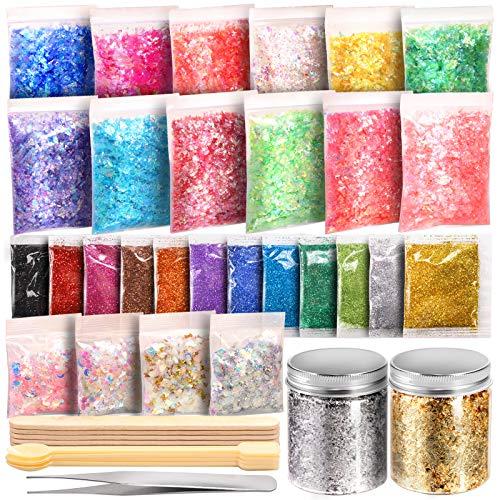 Glitter, escamas, laminas de brillo p/resina-arte +acc. x49p