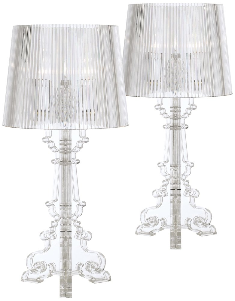 Baroque Clear Acrylic Accent Table Lamp Set of 2