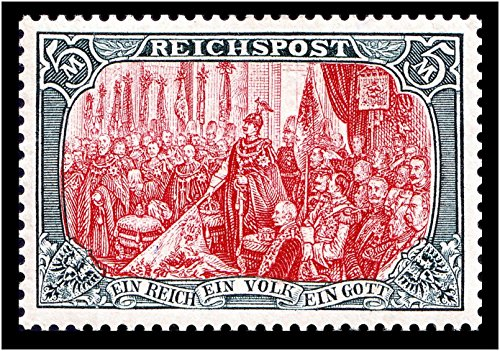 EXTREMELY RARE ORIGINAL WW1 GERMAN 5 MARK STAMP (MINT NEVER HINGED) FOUNDING OF GERMAN EMPIRE1871!