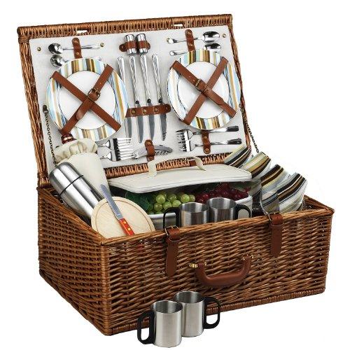 English Style Willow Basket (Picnic at Ascot Dorset English-Style Willow Picnic Basket with Service for 4 and Coffee Set - Santa Cruz)