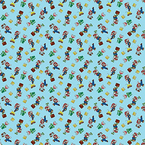 Super 100 Fabric - Mario Mario Toss in Light Blue 100% Cotton Fabric by The Yard