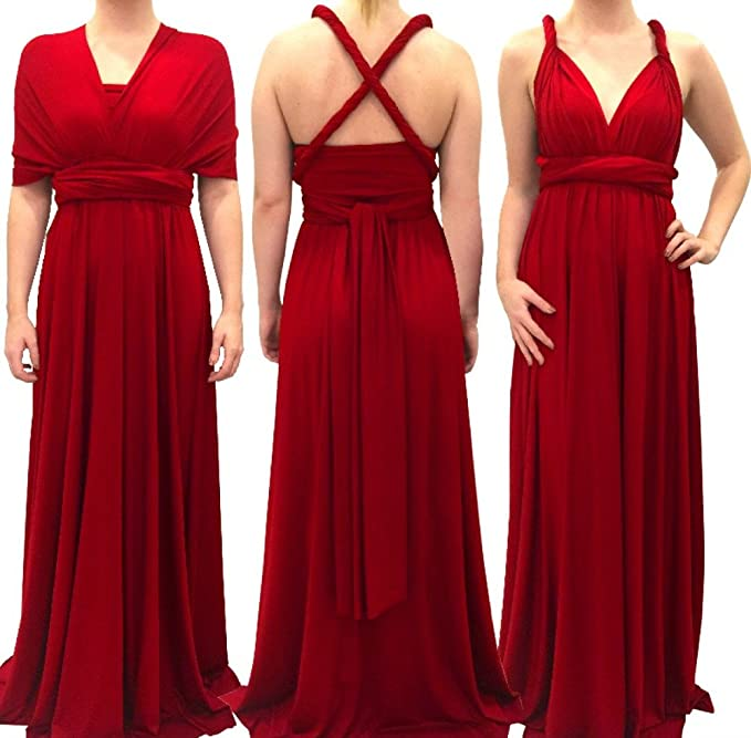 7eb12c46b23e 4Now Fashions Long Red Infinity Dress Long Bridesmaid Dress Prom Convertible  Multiway: Amazon.ca: Clothing & Accessories