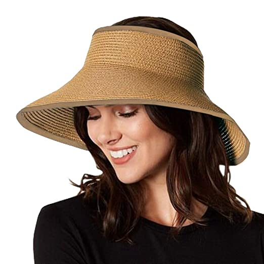 58225dfc87601 ZOORON Straw Sun Visor Beach Hats for Women