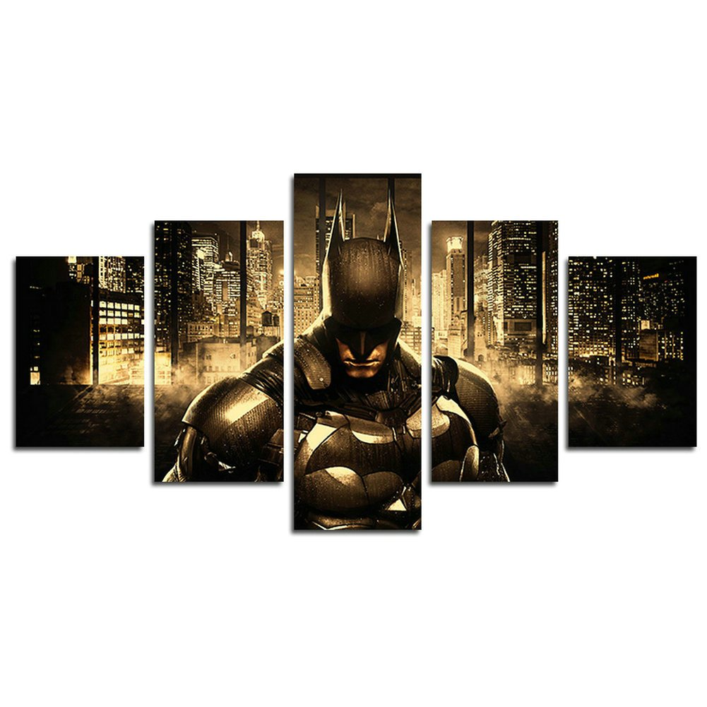 AtfArt 5 Piece Batman DC Comics Superhero painting for living room home decor Canvas art wall poster (No Frame) Unframed HB52 50 inch x30 inch