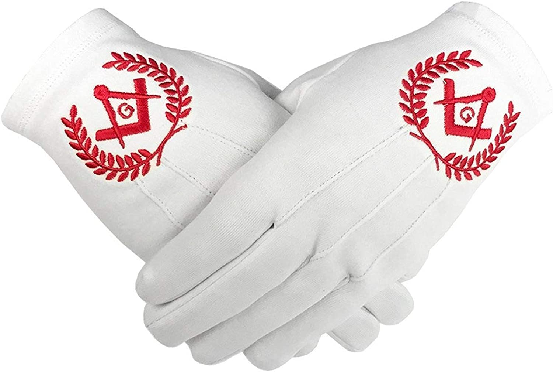 Masonic Regalia White 100/% Cotton Gloves Square Compass /& G BT045