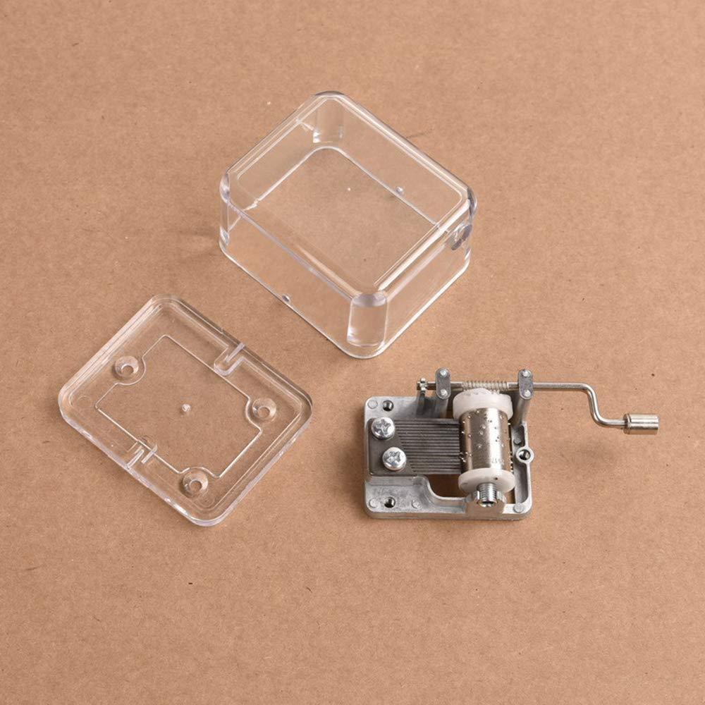Unique Transparent Acrylic Hand Crank Mechanism Music Box,Craft DIY