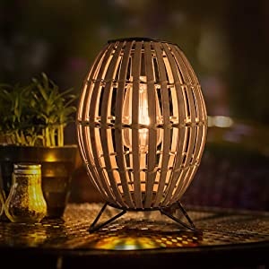 Solar Table Lamp Lantern Outdoor - Pearlstar Rustic Bamboo Woven Lantern Light with Edison Bulb, Solar-Powered Warm Light, Great Decor for Garden, Patio, Desk