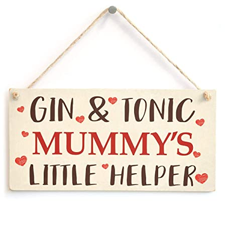RABEAN Gin and Tonic MummyS Little Helper Cartel de Madera ...