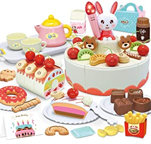 Promise Babe 85pcs Tea Party Set for Little Girls,Birthday Cake Toy with Lights & Sounds Pretend Play Cutting Food Toys with Donuts,Milk,Teapot, Dessert Tea Party Accessories Gift for Toddlers