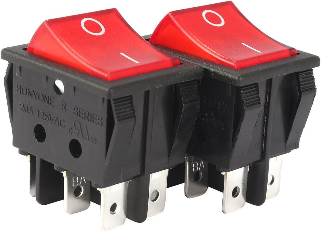 uxcell 2Pcs AC 20A/125V 22A/250V DPDT 6Pins 2 Position On/Off Red Bulb Light Illuminated Boat Rocker Switch