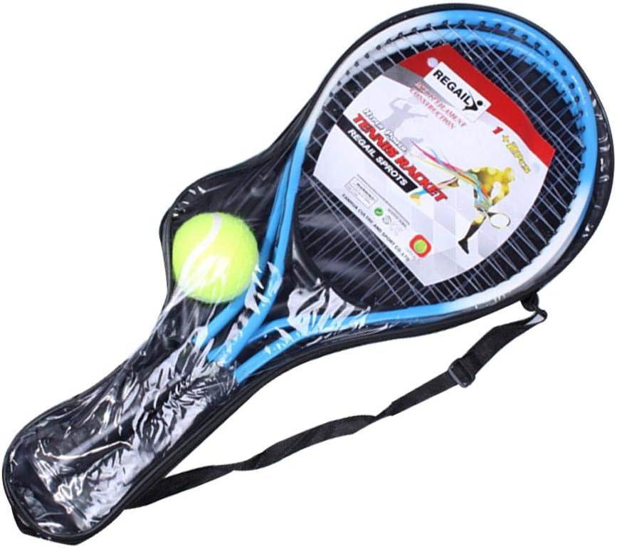 Raquetas De Tenis para Niños, Raqueta De Tenis para Niños De Aleación De Hierro De 2 Piezas, Raquetas De Tenis De Cuerda con 1 Pelota De Tenis Y Bolsa De Cubierta, 54 Cm 22 Cm
