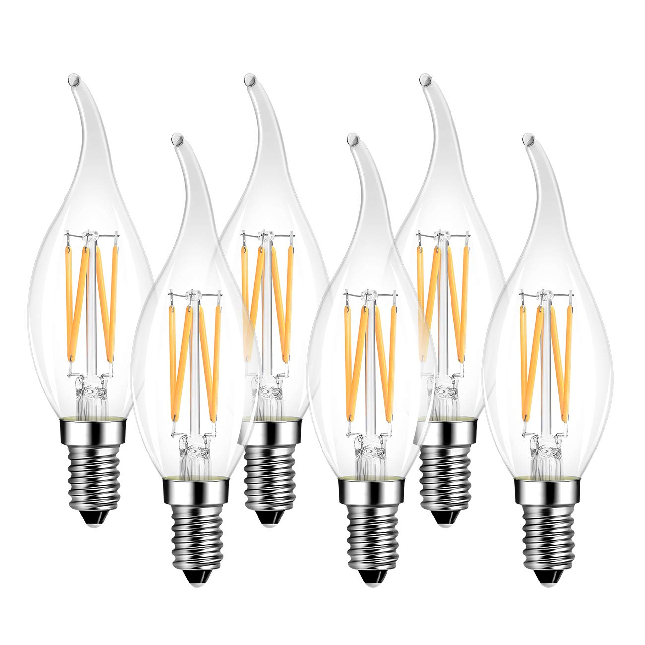E14 LED Filament Light Bulb Chandelier, 4W 2700K Warm White 470Lm, 40 Watt Equivalent, Non Dimmable, LVWIT C35 Small Screw Vintage Glass Candle Bulb 6 Packs