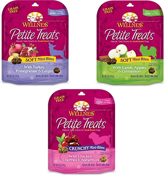 Wellness Petite Treats Natural Grain Free Small Breed Dog Treats Variety Pack – 3 Flavors – 6 Ounces Each 3 Total Pouches