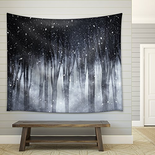 3d Render of a Spooky Foggy Forest on a Snowy Night Fabric Wall
