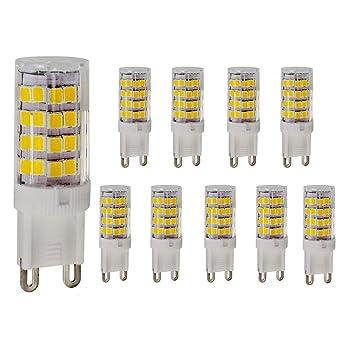 ELINKUME 10 piezas Bombillas LED G9,Sin Parpadeo,(5W Reemplaza a Halógena 50W