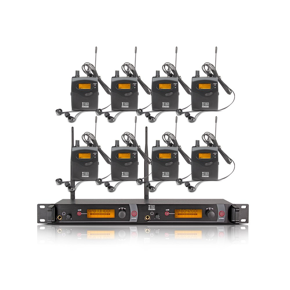 Xtuga RW2080 in Ear Monitor System 2 Channel 2/4/6/8/10 Bodypack Monitoring with in Earphone Wireless SR2050 Type! (8 bodypack with Transmitter)