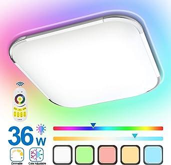 HENGDA Lámpara de techo LED RGB, regulable, protección IP44 ...