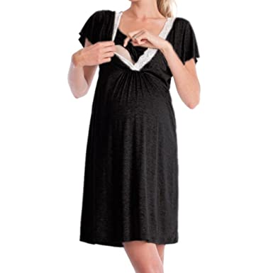 WEIMEITE 2 in1 Maternity Nursing Pregnancy Nightdress Nightshirt  Breastfeeding Nightdress Shirt Gown Black S 3f6288a6c