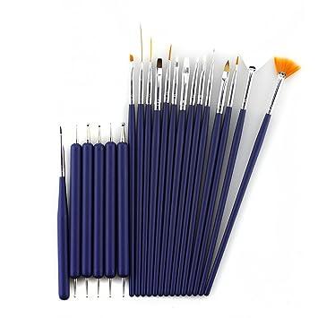 Glow 20 Piece Nail Art Brushes And Nail Dotting Tools Set Blue