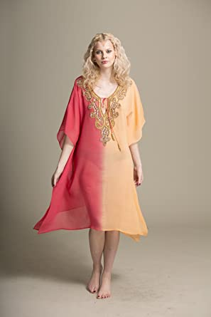 af7fcda6a0 FunkyAsian FA-Coral-Peachs-Free Size Vertical Dip Dyed Fancy  Crystal/Antique Beadwork Embroidery Tunic: Amazon.co.uk: Clothing