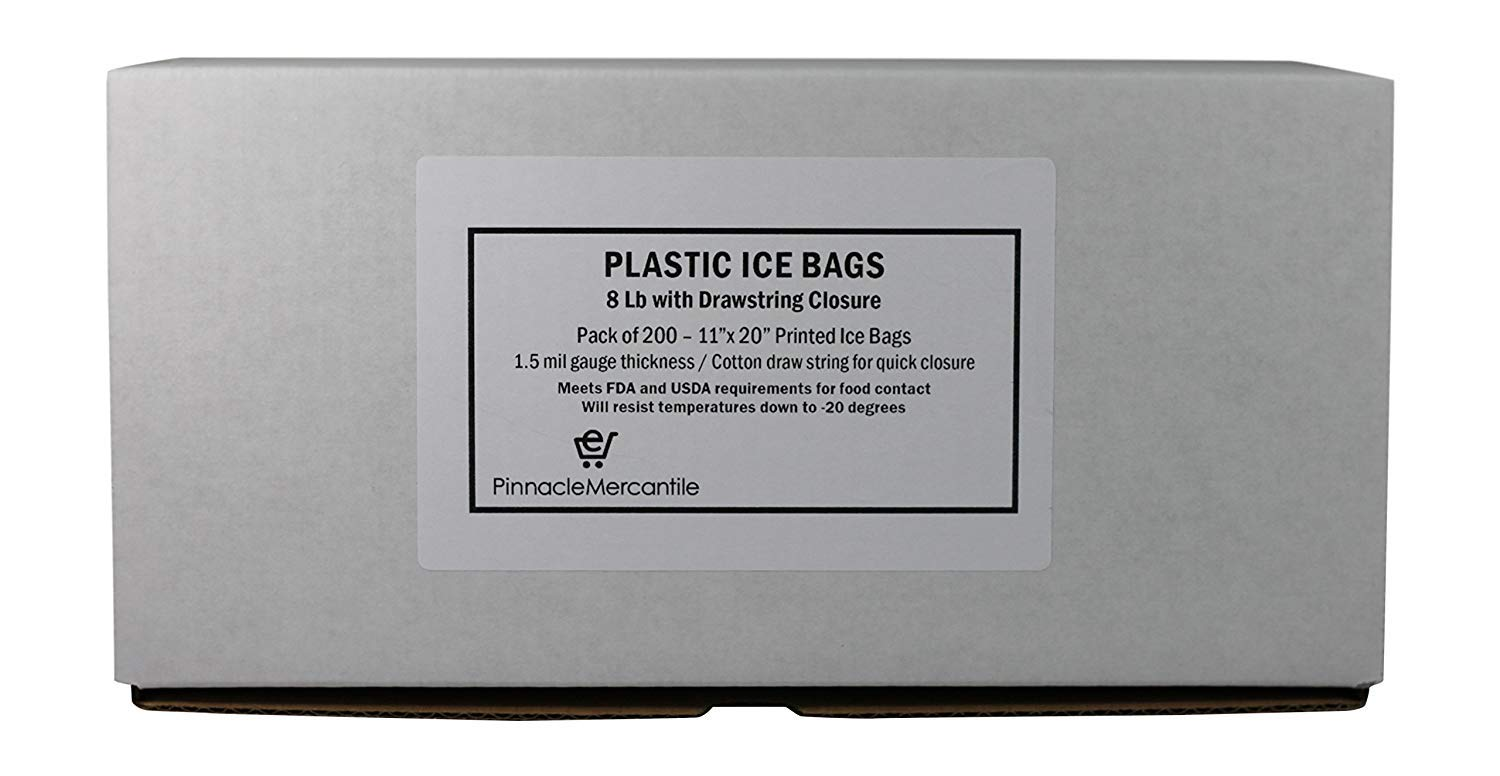 Pinnacle Mercantile 8 lb. Drawstring Ice Bags (200-Count) Heavy-Duty, Puncture-Resistant EVA | Cotton Pull Closure | Disposable, Recyclable | Portable Storage and Freezer Keeper by Pinnacle Mercantile (Image #2)