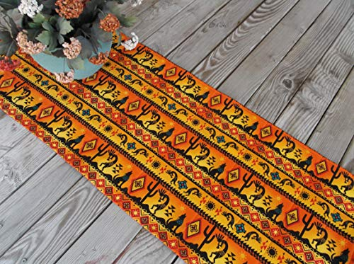 Kokopelli and Wolves Quilted Table Topper or Sideboard Runner 42 inches