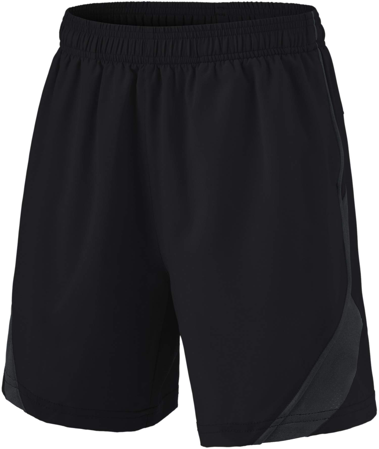 TSLA Boy's Active Shorts Sports Performance Youth HyperDri II w Pockets, Stretch Pace(kbh76) - Black, Youth Large by TSLA