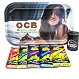 Bundle - 7 Items OCB Rolling Tray with (5) Assorted King Pin Hemp Wraps All Natural (Girl)