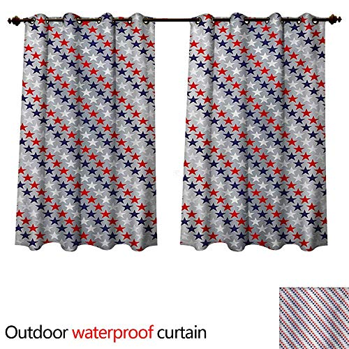 tdoor Curtains for Patio Waterproof July Fourth Stars Citizen National Day Patriotic Western Salute to The Union W108 x L72(274cm x 183cm) ()