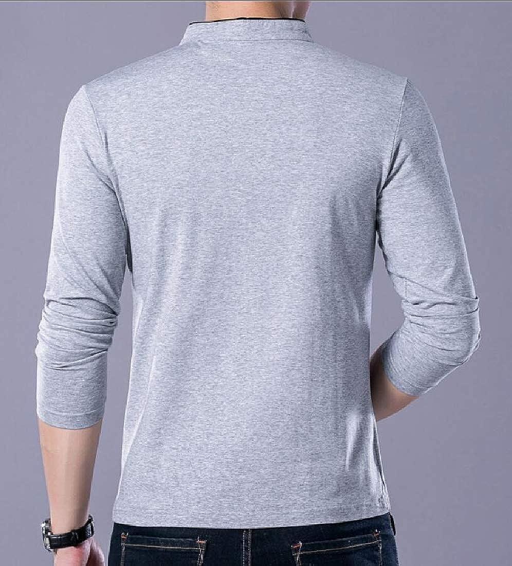 Keaac Men/'s Fashion Casual Polo Tops Solid Color Long-Sleeve Slim Tops