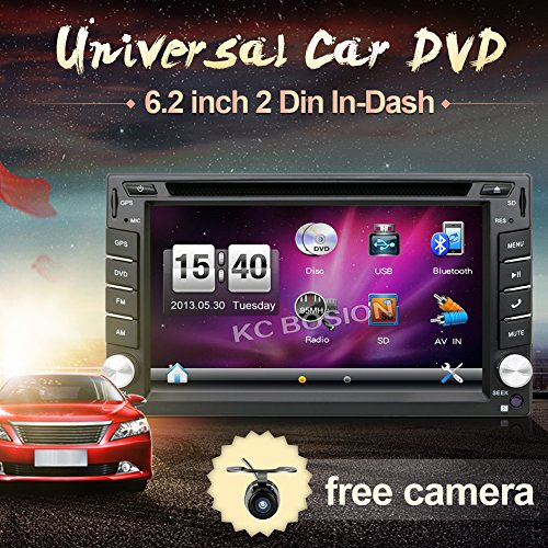 Hot selling product 6.2-inch Double DIN in Dash Car Dvd Player Car Stereo Touch Screen with Bluetooth USB Sd Mp3 Radio for Universal Car Free Backup Camera Image