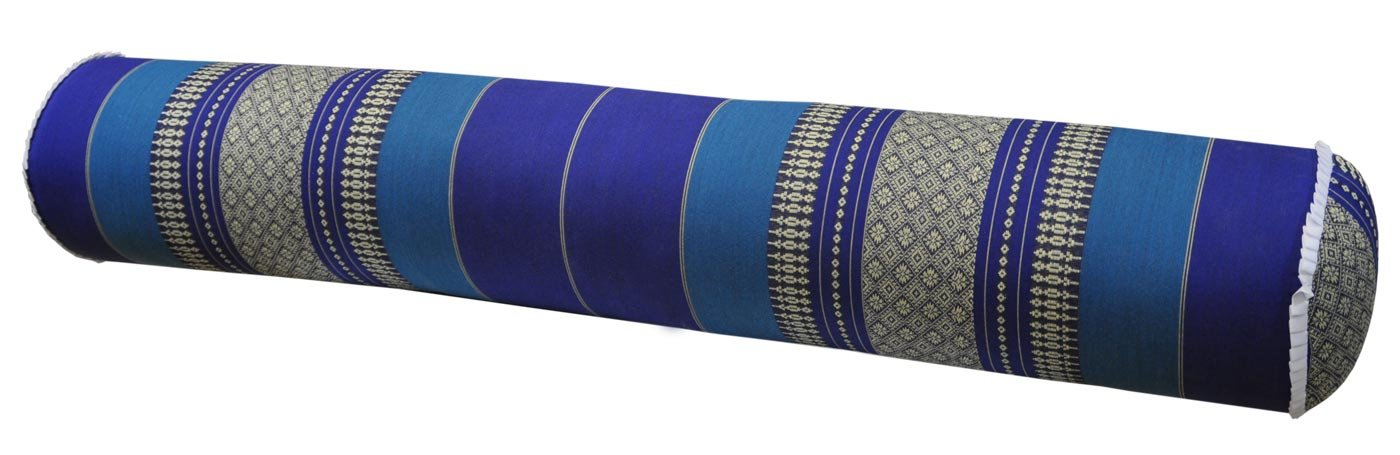 Thai cushion round bolster, pillow, sofa, imported from Thaïland, blue, relaxation, beach, pool, meditation garden (82212) by Wilai GmbH