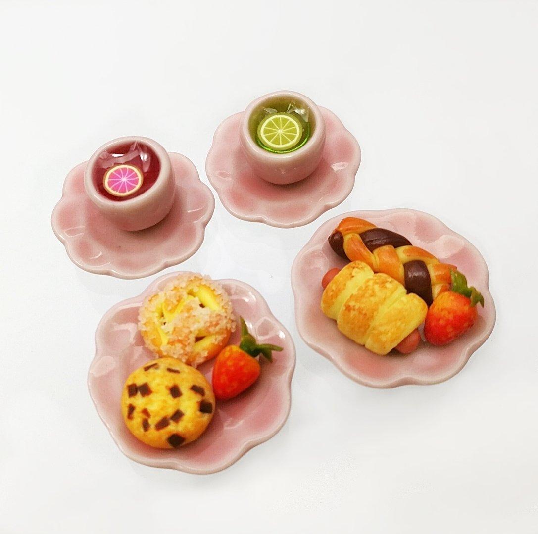 Set of Dollhouse Tea Miniature Strawberry of Bakery with Lemon Tea on Set on Pink Ceramic B0792HSG9F, UNITED STYLE:bfaa6110 --- alumnibooster.club
