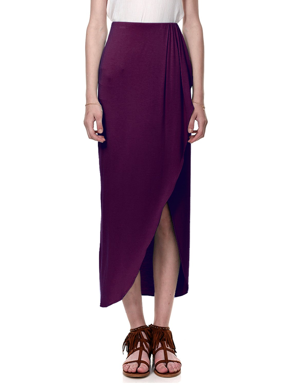 Regna X for Womans Comfortable Dark red Wine Beach wear Large Floor Length Maxi Skirt