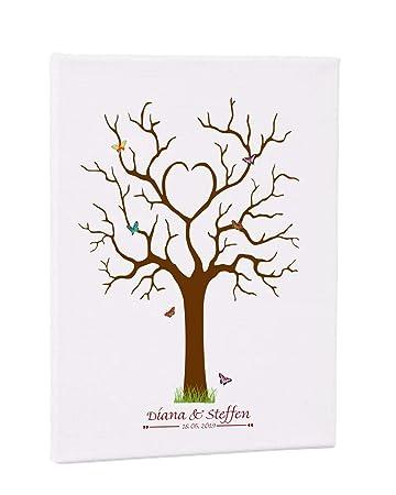 Amazonde Fingerabdruck Leinwand Schmetterling Wedding Tree 004