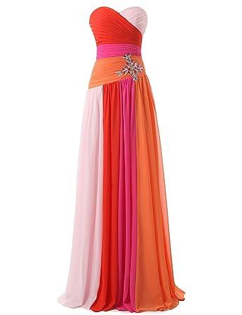 688608938486b4 Clearbridal Damen Formale Chiffon Abendkleid Farbverlauf Bandage Maxikleid  Brautjungfer Kleid SD063 Fuchsia UK6