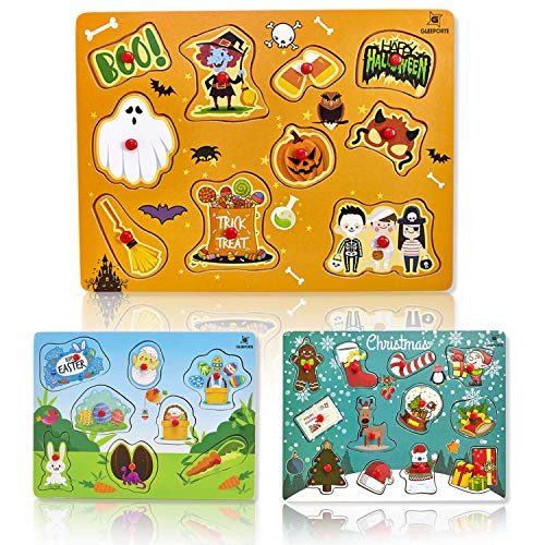 Set of 3 Holiday Theme Wooden Peg Puzzles Only $17.99