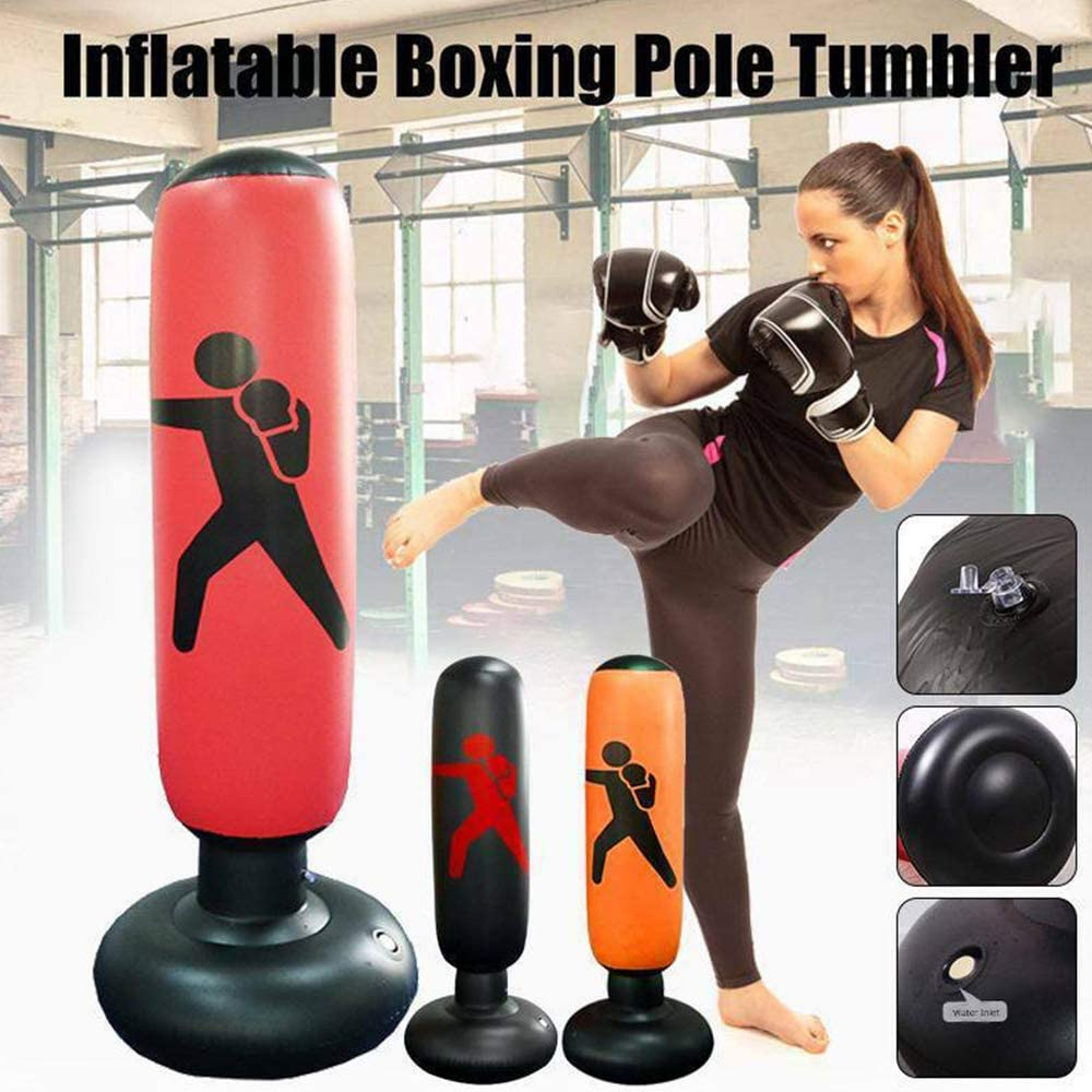160 cm WingFly Inflatable Punching Bag Free Standing Boxing Punch Bag Sport Stress Relief Boxing Target Heavy Training Fitness Sandbag