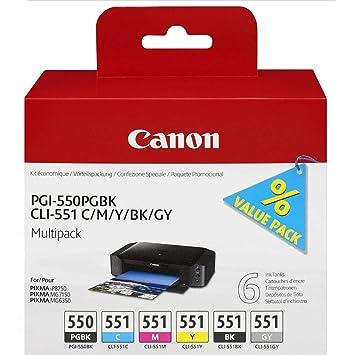Amazon.com: Cartucho de tinta Canon para Pgi550Pgbk/Cli551 ...