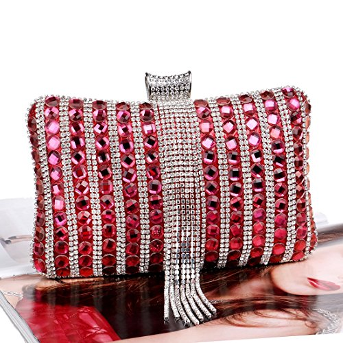 TuTu red Color Handbags Messenger Metal Women Beaded Candy Bag Wedding Party Evening Bag Clutch Diamonds Tassel Fashion rxwTfaFr