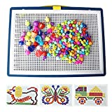 pengxiaomei 296 Pcs Mushroom Nail Toys, DIY Peg Pegboard Toy Jigsaw Puzzle Games Mosaic Toys for Toddlers Kids Boys Girls