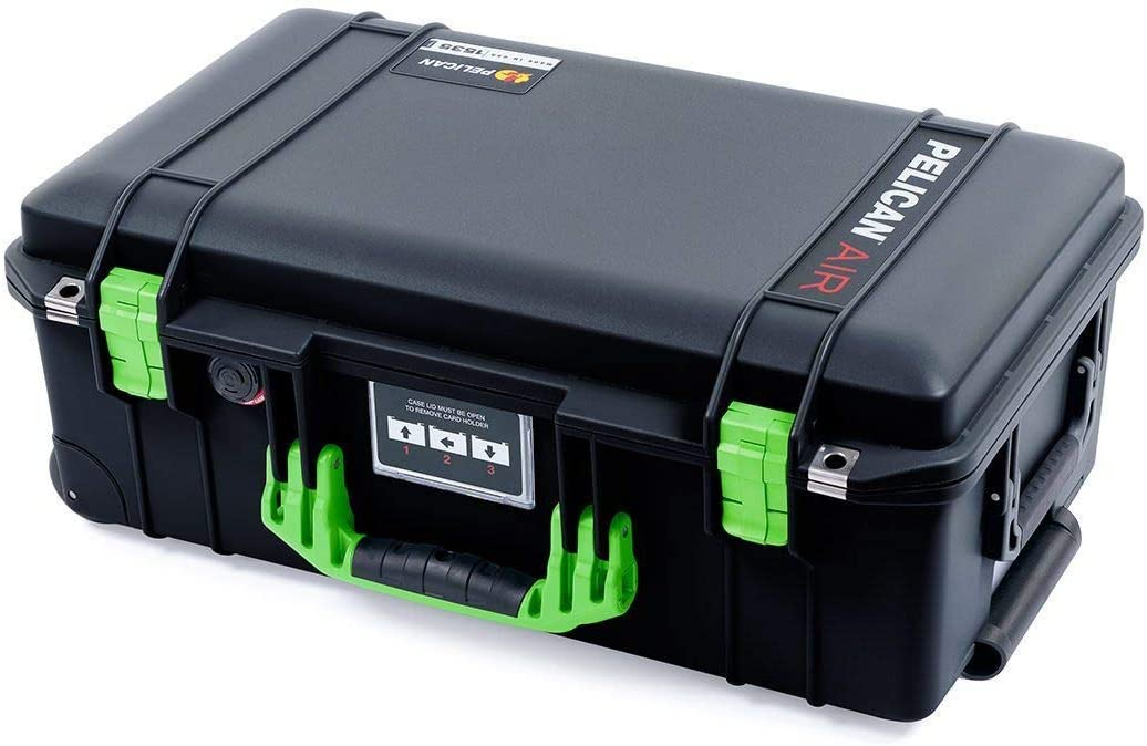 Empty. Black Pelican 1535 Air case with Lime Green Handle /& latches No Foam