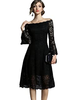 AIKOSHA Womens Vintage Off Shoulder Lace Overlay Dress Long Flare Sleeve  Swing Cocktail Party Dress 19f5b2009