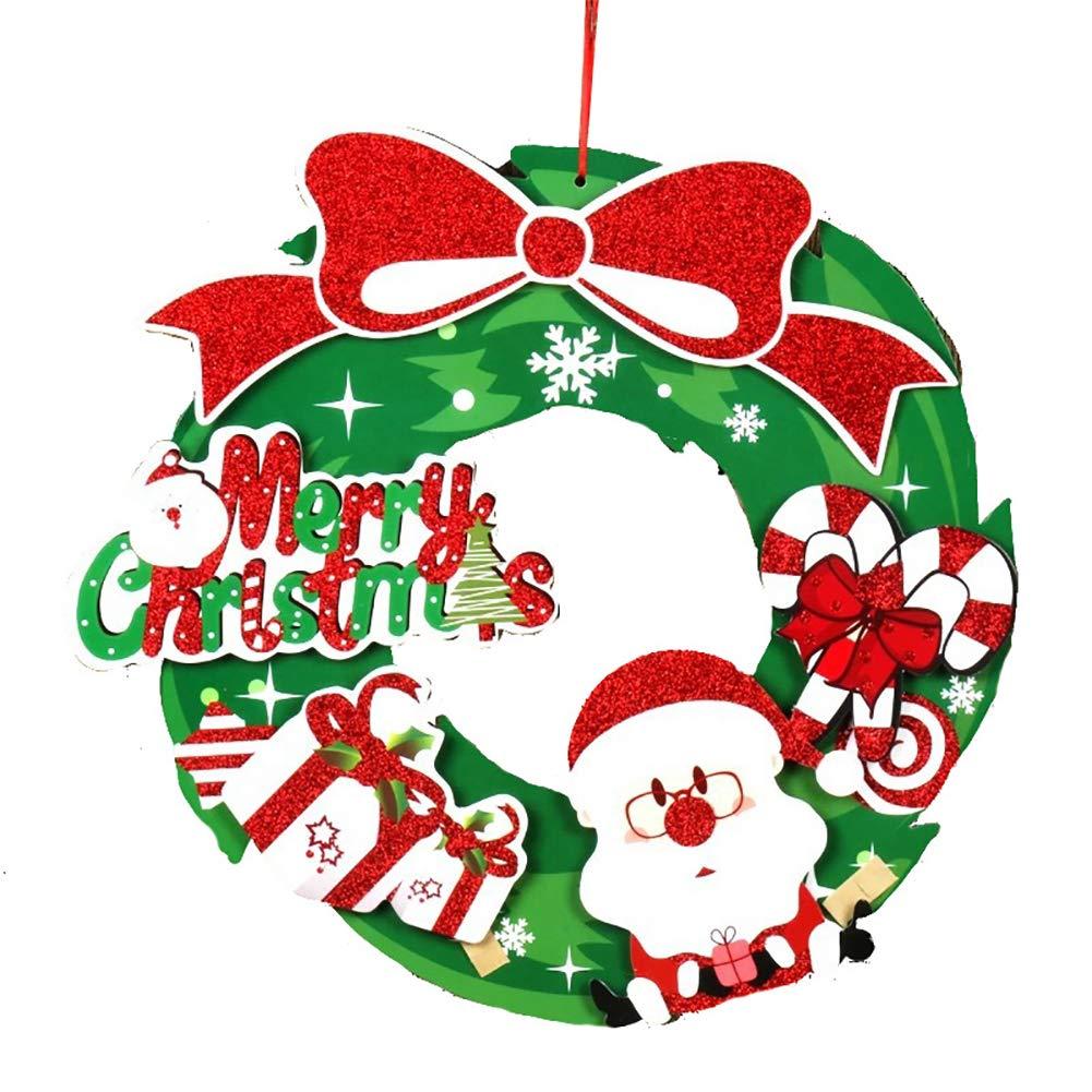 Deanyi Noël Bonbons Boule de Noël 3D Garland Décoration Murale Stickers Couronne de Centre Commercial Hôtel Décoration Fenêtre Autocollants (Vert) Produits pour Décors Noël