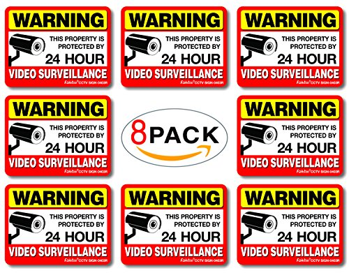 Video Surveillance Sign Reflective Sticker (8 Pack) - Decal Self Adhesive 4