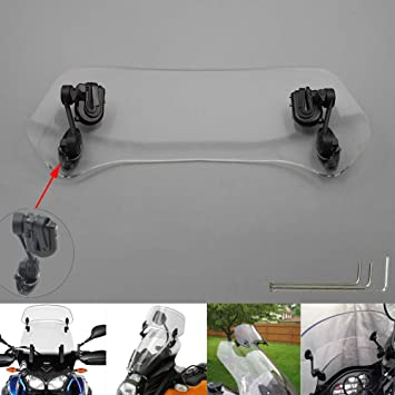 Motoparty Motorcycle Windshield Extension Windscreen Clip on For Triumph Aprilia Kawasaki Harley Honda BMW Yamaha Suzuki KTM Ducati Indian Victory Agusta Benelli and more motorcycles with windshield
