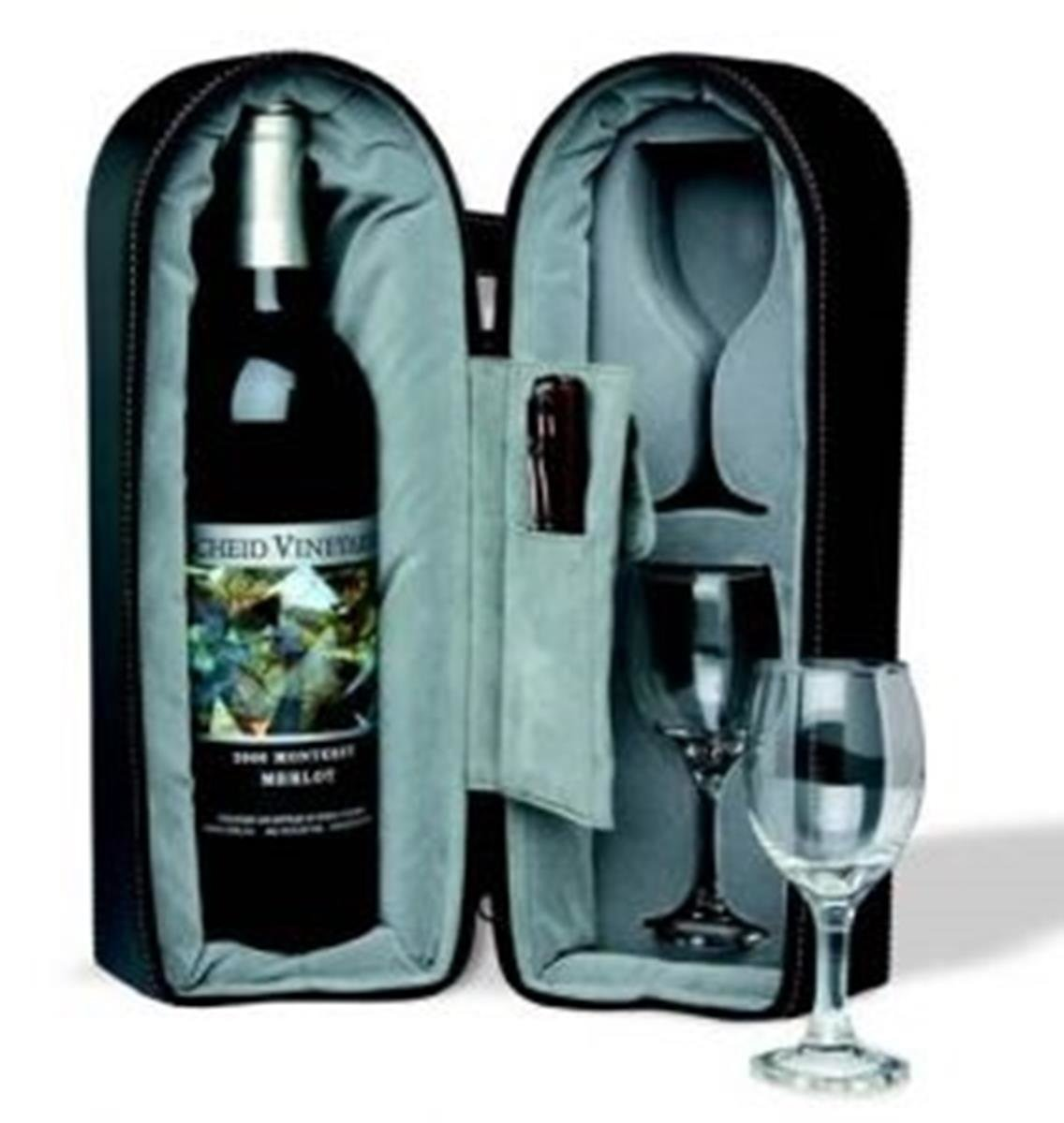 Bottle and 2 Glass Black Exterior and Blue Interior Wine Travel Case