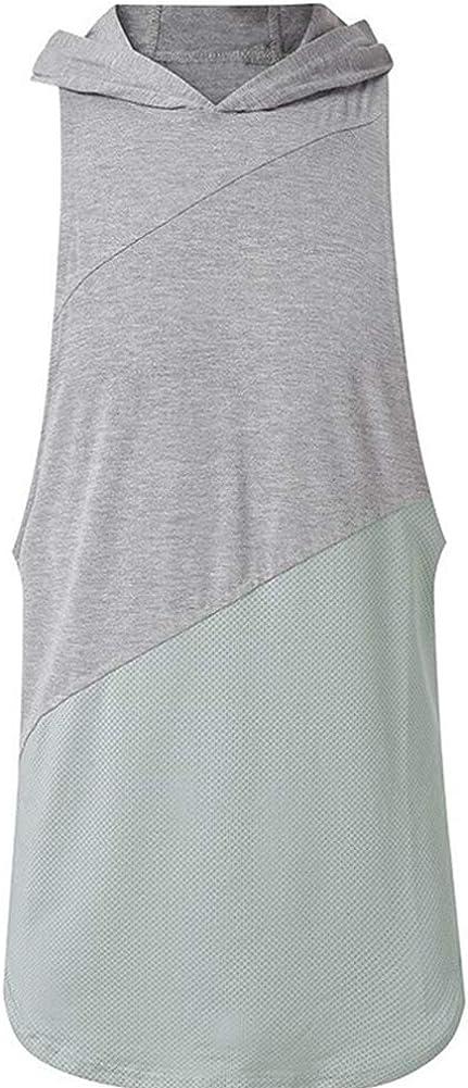 Canotta da uomo con cappuccio camicie da allenamento sport bodybuilding muscolare palestra senza maniche t-shirt top