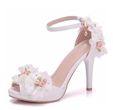61a7f6d42687 Image Unavailable. Image not available for. Color  Minishion Women s Net Flowers  High Heel Ivory Satin Ankle Strap Wedding Sandals ...
