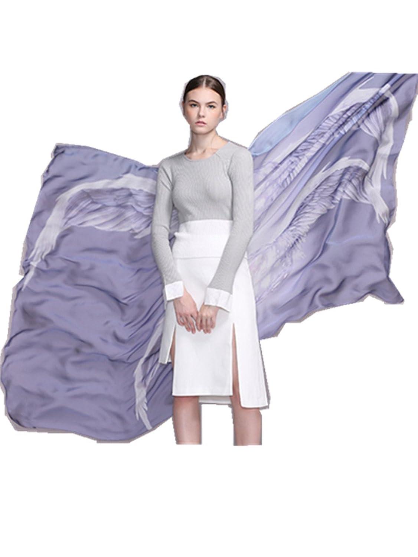 """Novels-wear 2017new 100%mulberry Silk Scarf Wrap Wings Super long 78""""L53""""W"""